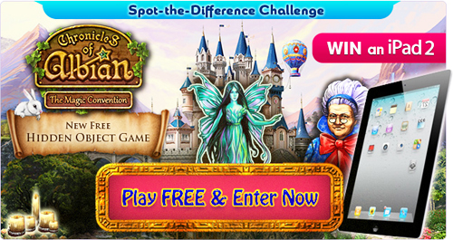Enter our September Spot-the-Difference Challenge based on our new Hidden Object game Chronicles of Albian: The Magic Convention for a chance to WIN one of 2 x iPad 2's or one of 10 x FREE 6-month subscriptions to our Ad-Free service FreeRide+!